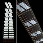 Double-Parallelogram 175 Style Block Fret Markers Inlay Stickers Guitar White Silver